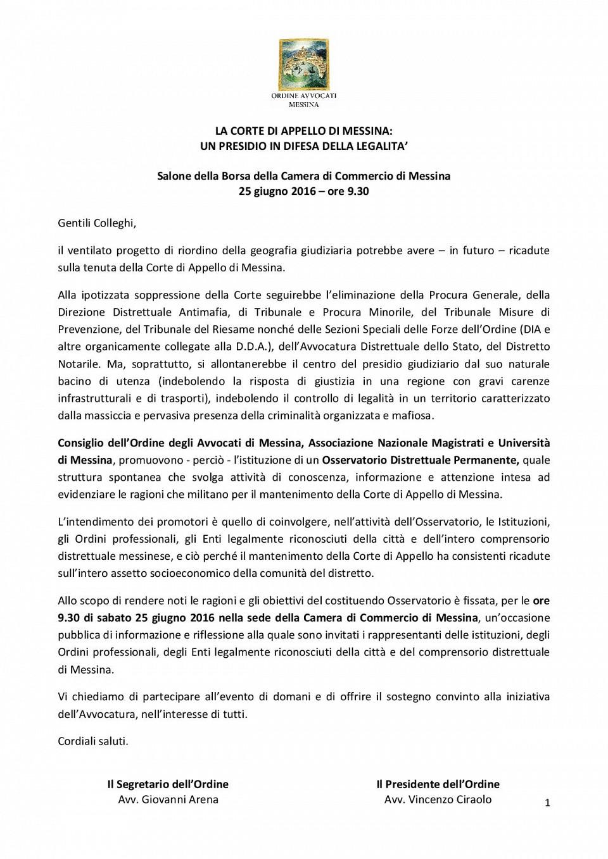 LA CORTE DI APPELLO DI MESSINA: UN PRESIDIO IN DIFESA DELLA LEGALITA'