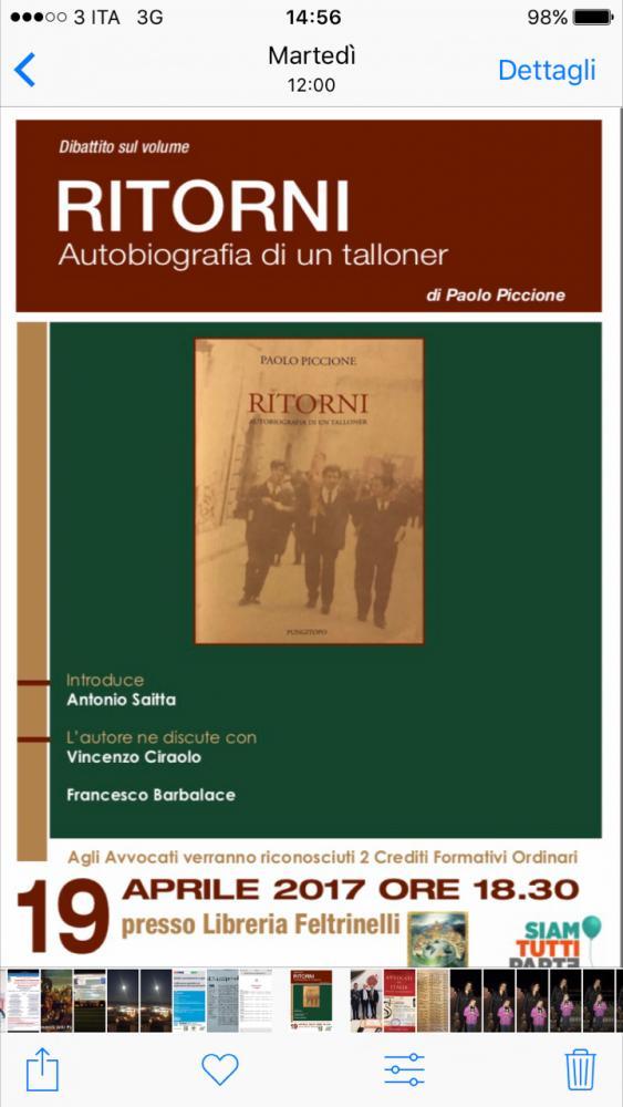 Dibattito con l autore Paolo Piccione sul volume  Ritorni