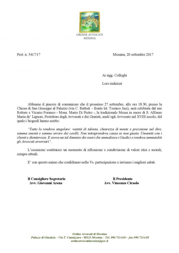 Invito S. Messa in onore di S. Alfonso Maria de Liguori - Chiesa di S. Giuseppe (Via C. Battisti) - 27.9.17 ore 18.30
