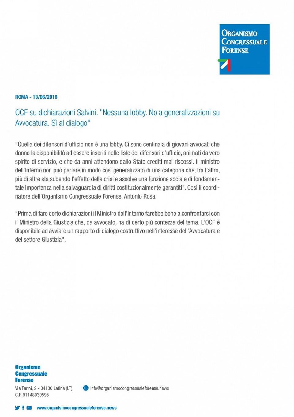 OCF e CNF replicano al Ministro Salvini sulle dichiarazioni rese sulla difesa d ufficio