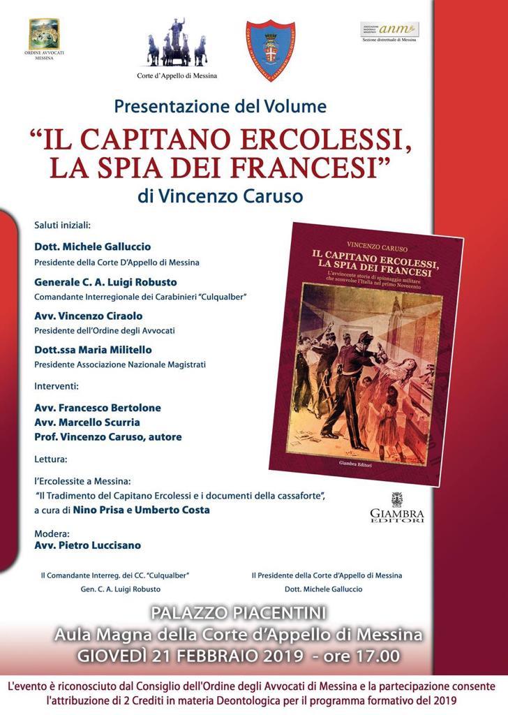 Presentazione del Volume:  Il Capitano Ercolessi, la spia dei Francesi